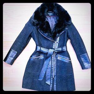 Via Spiga Faux-Fur-Trim Wool-Blend Coat